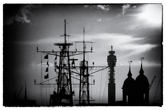 The Post Office Tower in London, pinhole camera filter in Silver Efex